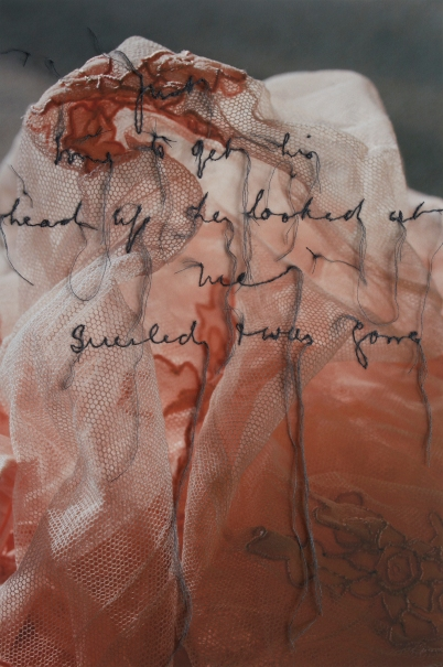 News, 2014, archival pigment print on cotton rag, silk & mohair yarn, hand stitching