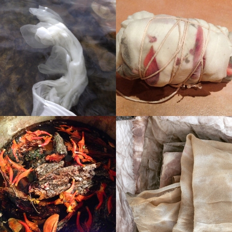 Clockwise from top left: washing the silk by the jetty; bundled with petals & foliage; finished cloth; dyepot with bark, flower petals & orange fungi