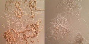 Hand stitched 'lace' experiments using waste string and frayed silk threads from the dye bundles