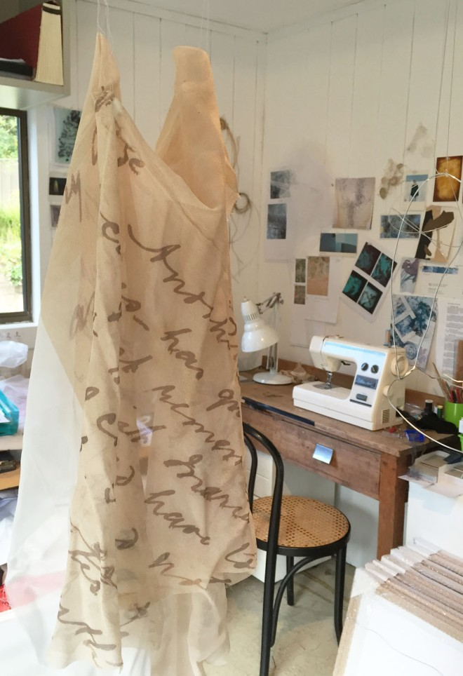 Checking the drape of the finished fabric