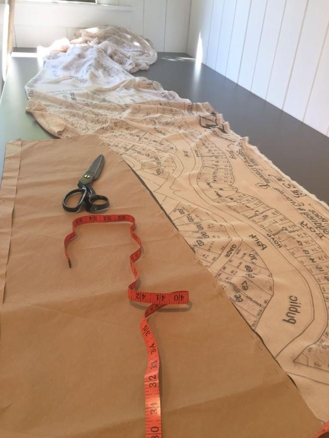 Cutting the digitally printed silk georgette