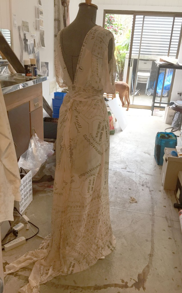 The almost completed 1930s evening dress
