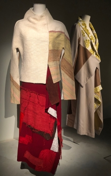 Jacket: raw silk, skirt: patchwork wool, raw silk, silk kimono lining, leather. Autumn/winter 2000.